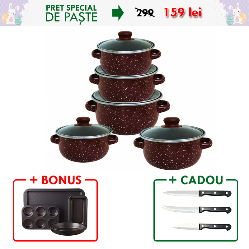 Set 10 PIESE vase EMAILATE,  capace din STLICLA, capacitati de la 4 la 1 litri + Set 4 TAVI pentru COPT (mancaruri, prajituri, cozonaci, briose) + Set 3 CUTITE, lama INOX