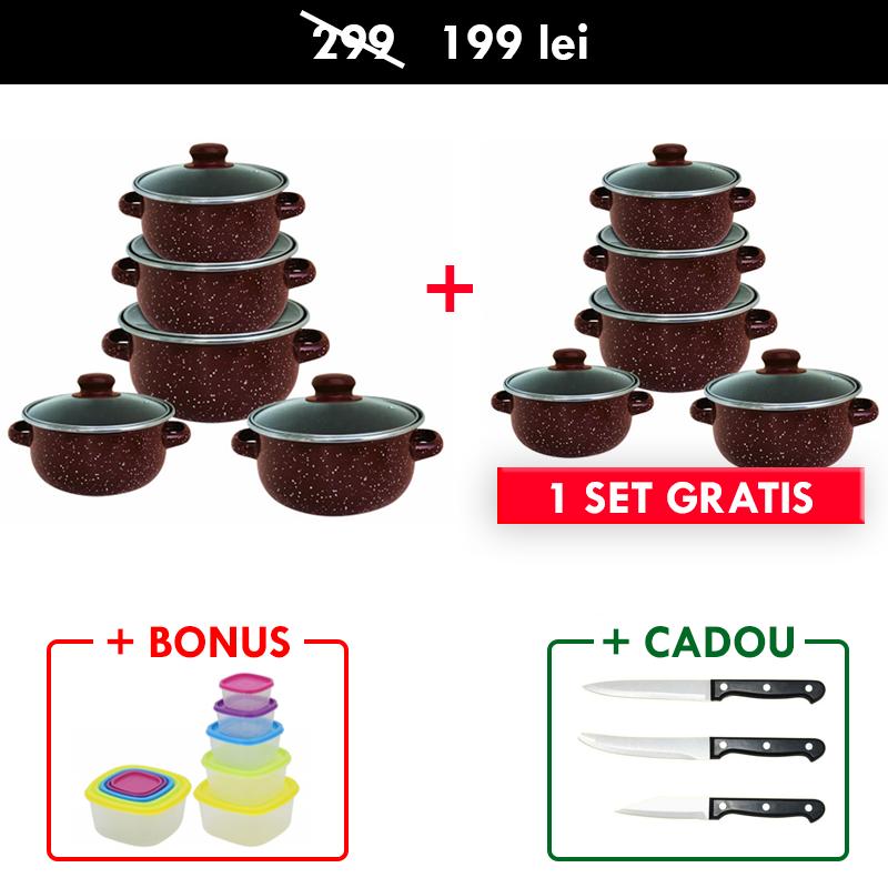 1 + 1 GRATIS - Set 10 PIESE vase EMAILATE, capace din STLICLA, capacitati de la 4 la 1 litri + Set 5 CASEROLE cu CAPAC + CADOU