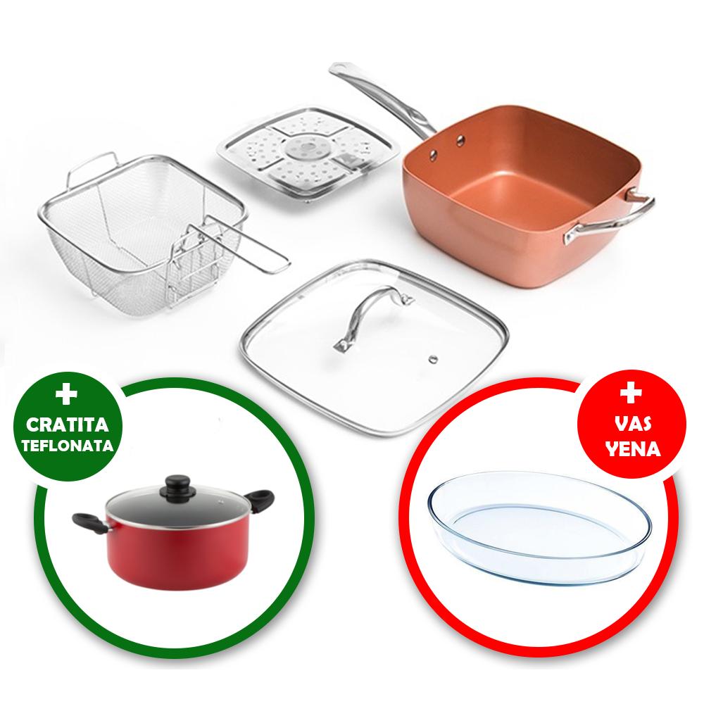 Pachet promo COOPER: TIGAIE multifunctionala COOPER PAN (friteuza, gatit la aburi, tava cuptor, tigaie clasica) + Cratita TEFLONATA (nu LIPESTE) + Vas YENA, rezistent la CUPTOR