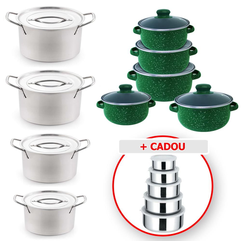 Pachet promo 23 PIESE: Set 8 PIESE VASE din INOX (8 - 3 litri) + Set 10 PIESE vase EMAILATE (4 - 1 litri) + Set 5 CASEROLE din inox cu CAPAC